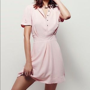 Free people pink dreamer chaser button dress